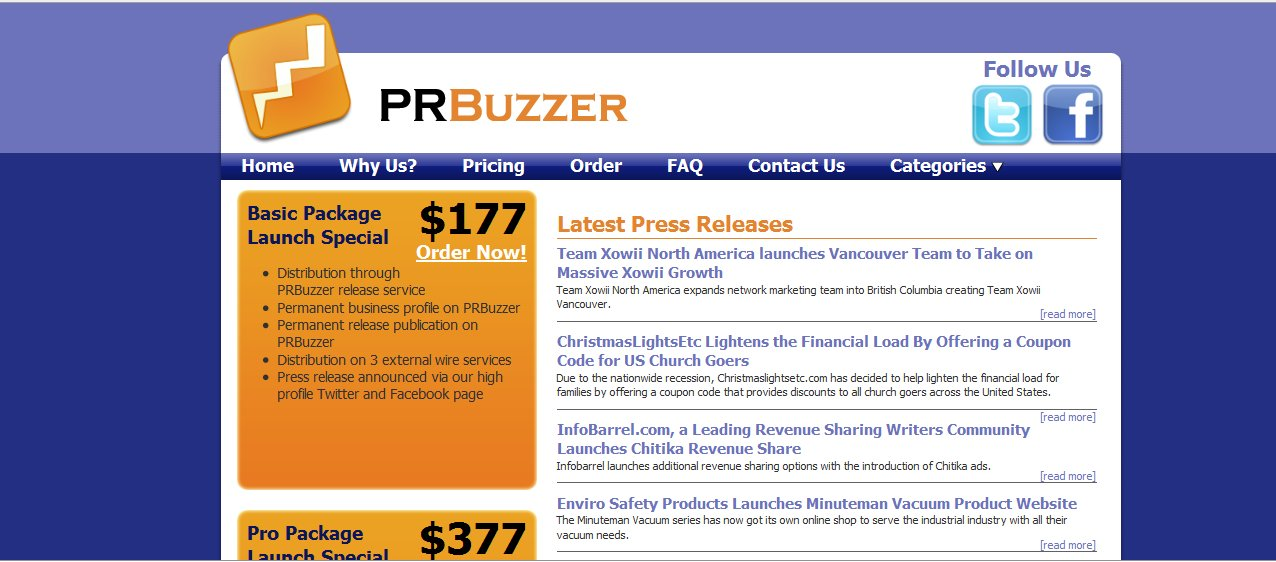 prbuzzer ss SEO + Social Media + Press Release = PRbuzzer.com