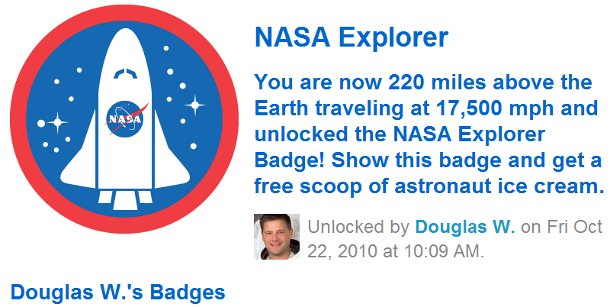 nasa explorer badge foursquare Foursquare Space Station Check In = Linkbait!