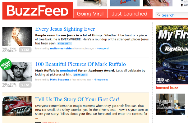 buzzfeed Screenshot 3 Places To Launch Your Link Bait