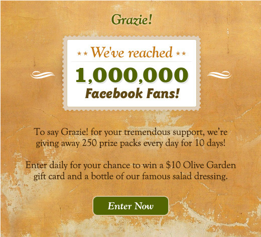 olive garden facebook contest Facebook Marketing Win Via The Olive Garden