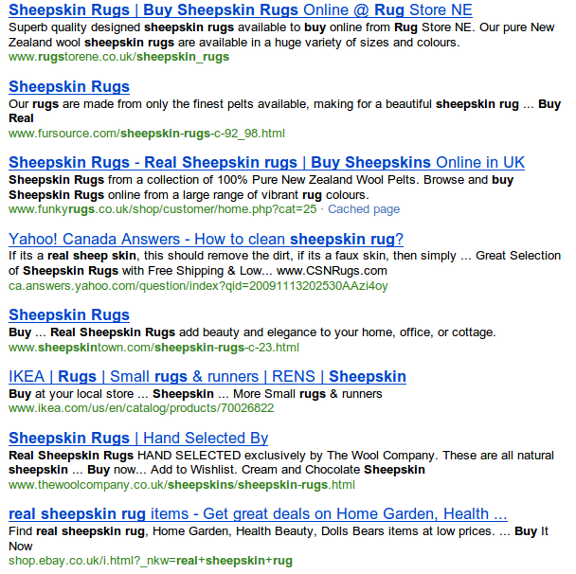 bing sheepskin results Google vs Bing Round 2: Product Search