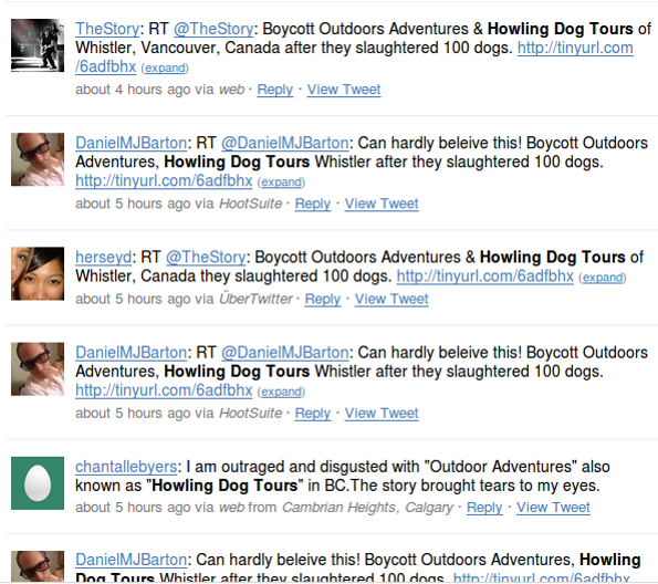 howling dog tours twitter Outdoor Adventures Whistler & Howling Dog Tours: Reputation Management Nightmare