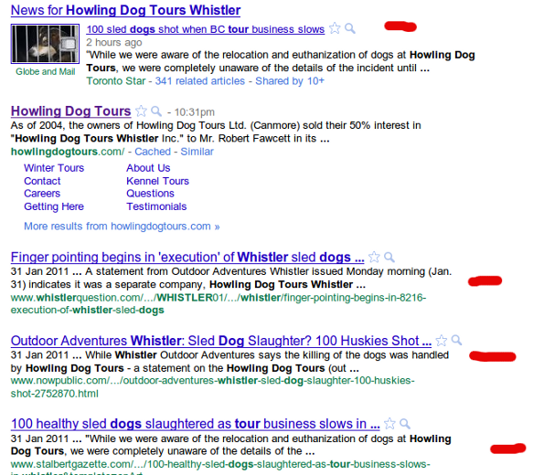 howling dog tours whistler google Outdoor Adventures Whistler & Howling Dog Tours: Reputation Management Nightmare