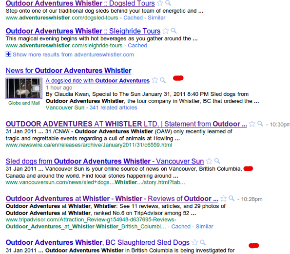 outdoor adventures whistler google Outdoor Adventures Whistler & Howling Dog Tours: Reputation Management Nightmare