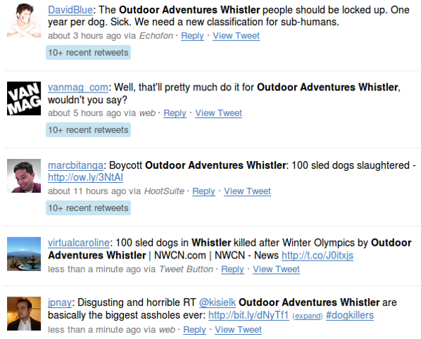 outdoor adventures whistler twitter Outdoor Adventures Whistler & Howling Dog Tours: Reputation Management Nightmare