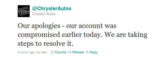 chrysler autos twitter Chrysler Drops F Bomb Via Twitter