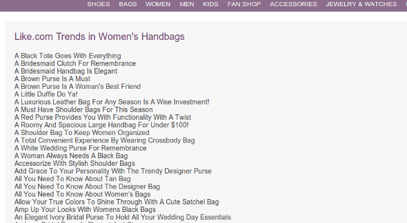 womens handbag trends Google Owned Like.com Outranked By Content Scrapers Post Panda