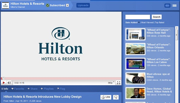HiltonYouTube1 Social Media Basics for Hotel Management 