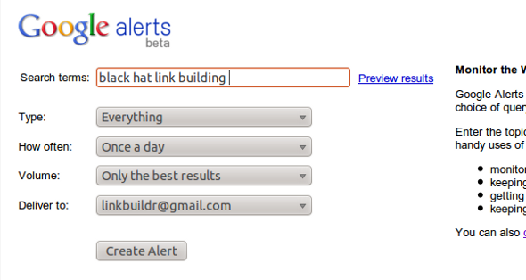 google alerts monitoring Ecommerce Link Building Strategies & Tactics