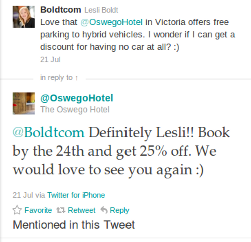 oswego hotel twitter Ecommerce Twitter Marketing Strategies In Action