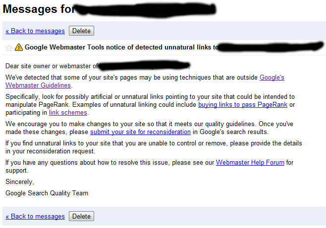 detected unnatural links notice google Detected Unnatural Links Notice From Google