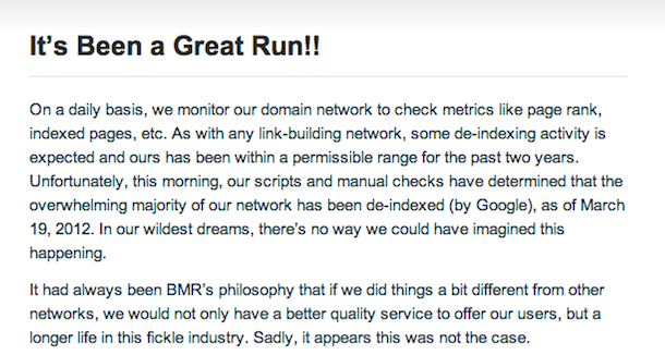 bmr closing doors Private Blog Networks Getting Deindexed?