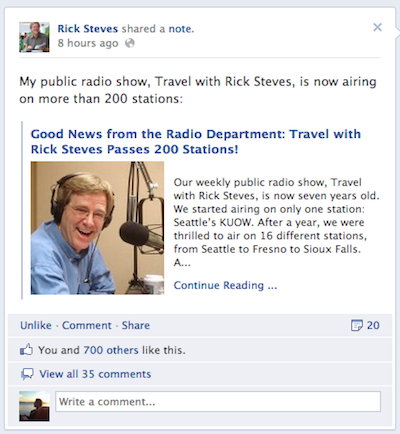 rick steves facebook activity Rick Steves and How To Correctly Build a Brand
