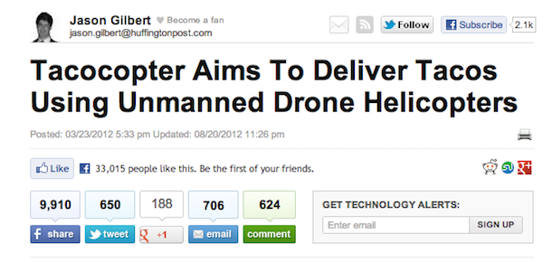 tacocopter huffpo Launch Bait: Getting Links Right From The Start