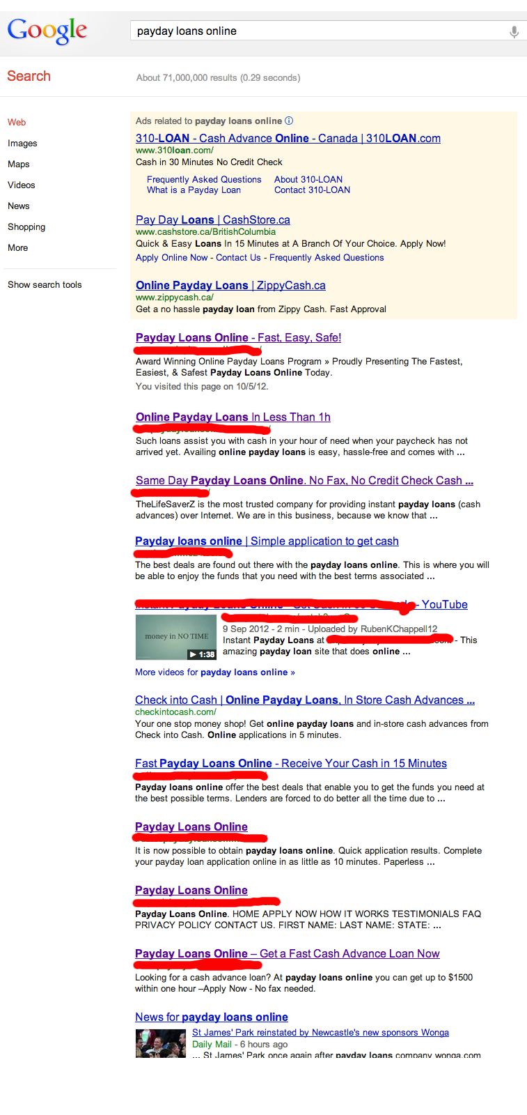 google spam afterupdates Spam Still King In Google SERPs